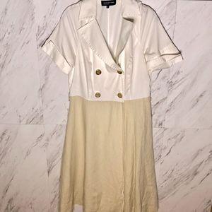 ⚓️ Button Down Linen Flare Dress SZ 12
